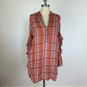Free People Plaid Ruffle Sleeve Tunic